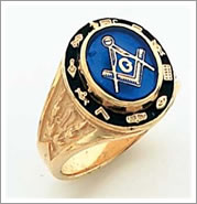 gold masonic ring with masonic tools