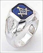 Sterling silver blue onyx masonic ring