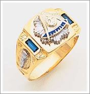 14k Past Master Ring with simulated sapphire