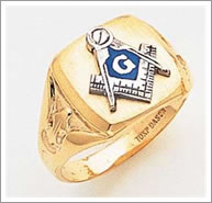 14k Masonic Square and Compasses Ring