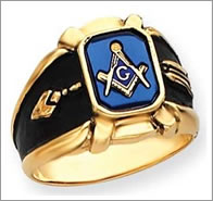 Masonic ring with plumb and trowel