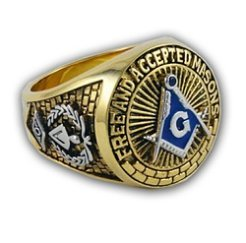 F.A.A.M.-(Free and Accepted Masons) Duo-Tone Square and Compasses Ring