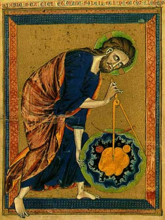 Christ applying compasses