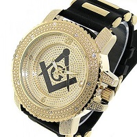 Black and gold face Masonic watch