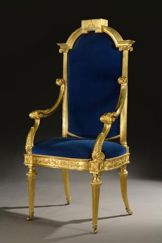 Senior Warden's Chair<br> United Grand Lodge of England<br> (Corinthian columns and the Level)