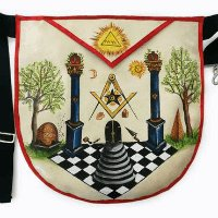 Hand Painted Masonic Apron - Boaz and Jachin Symbolic Lodge