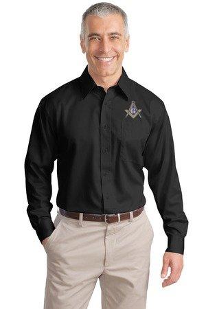 black no iron embroidered long sleeve Masonic shirt