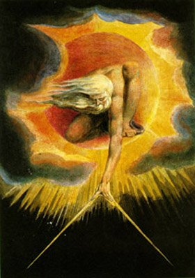 Ancient of Days - A 1794 watercolor etching showing god applying the compasses to mankind, below.  By William Blake
