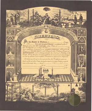 New F & AM Masonic Certificate