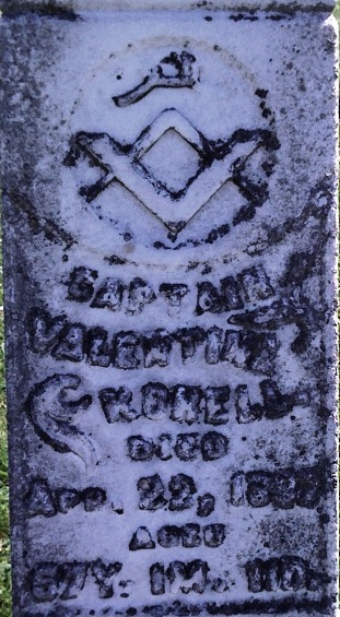 Valentine Korell Masonic gravestone closeup
