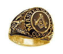 Stainless Steel with Gold Plating Masonic Ring with Symbols